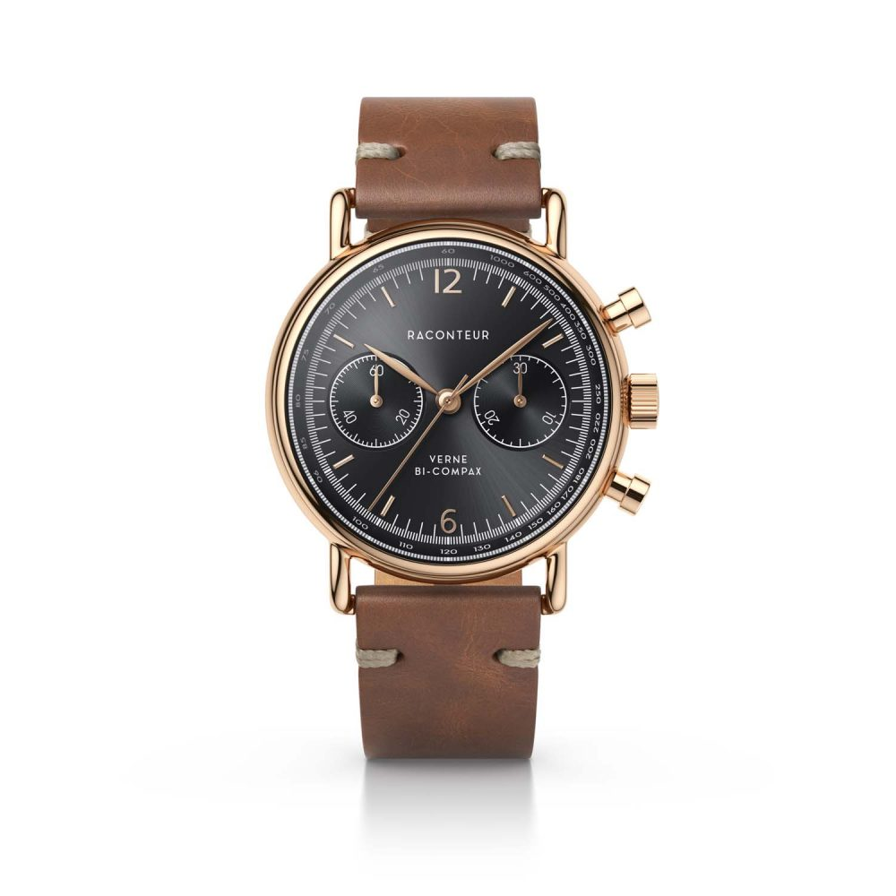 Raconteur watch Verne Bi-Compax rosegold with grey dial and brown leather strap