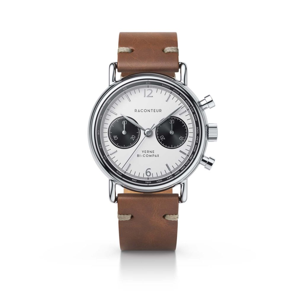 Raconteur watch Verne Bi-Compax silver with white dial and brown leather strap