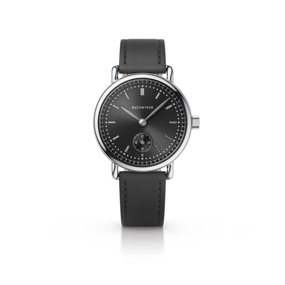 Raconteur watch Earhart silver with grey dial and nero leather strap